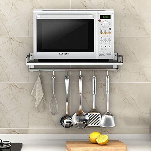 Leqi Edelstahl-Mikrowellen-Rost Doppelseitig gebürsteter Mikrowellen-Rost Küchen-Rost (59 * 37) Mit 6 Haken An der Wand befestigter Rost Mikrowellen-Rost -