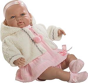 Berbesa- Muñeco bebé Sara, con Vestido Rosa y Chaqueta (5204)