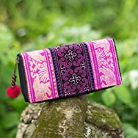 585ce605e8 Changnoi Magenta Elephant Clutch Wallet for Women with Hill Tribe Hmong  Embroidered
