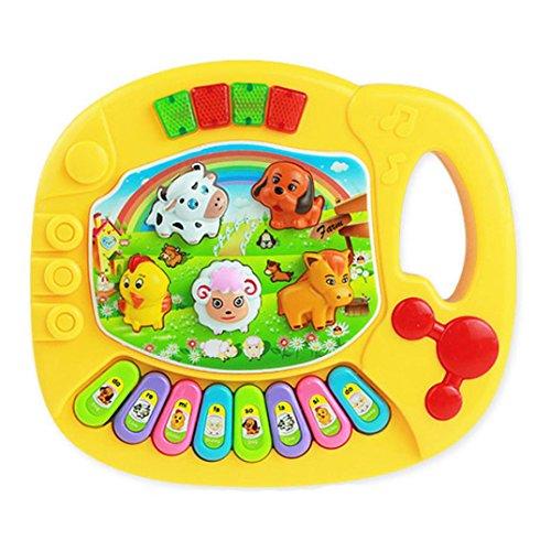 Omiky® Baby Kinder Musikalische Pädagogische Animal Farm Piano Entwicklungs Musik Spielzeug (Gelb) (Musikalisches Spielzeug Baby)