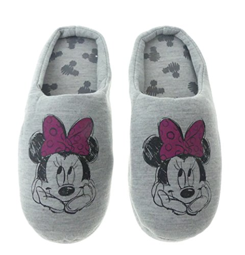 ch Disney Minnie Mouse Grau Warm Kinder Schlappen Slipper (36-37) (Damen Disney Hausschuhe)