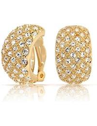 889652ebcb81 Bling Jewelry cristal goteado de latón chapado en oro la mitad del aro  pendientes de clip