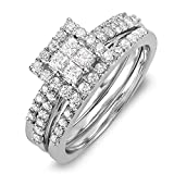 DazzlingRock Collection 14k Or blanc Princess & Round IJ Diamant blanc