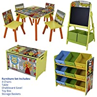 Marko Furniture Safari Kids Childrens Table Chairs Toy Box Storage Shelves Chalkboard