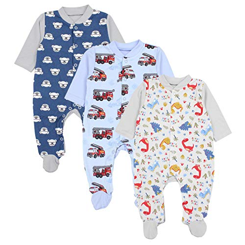 TupTam Baby Jungen Schlafstrampler mit Fuß 3er Pack, Farbe: Farbenmix 3, Größe: 80