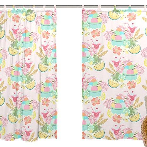 jstel 2pezzi Voile tenda di finestra, ragazza come rosa Cartoon estate vacanza in spiaggia, Tulle Sheer Curtain Drape Valance 139,7x 198,1cm Set di due pannelli