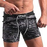 JMETRIC_Badehose Herren Freizeit Schnelltrocknende Hose Camouflage-Druck Schwimmen Kofferraum Enge Tasche Shorts (Grau,S)