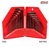 Apollo 30pc Hex Key Set of SAE & Metric Sizes of Short/ Long Arm CRV Steel Allen Keys for Furniture Assembly, Bike Maintenance, Household DIY & Heavy Duty Applications - Essential Toolbox Addition