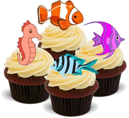 TROPISCHER FISCH - 12 essbare hochwertige stehende Kuchen Toppers - TROPICAL FISH (Fisch Kuchen Toppers)