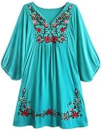 Doballa Mujeres Vestido de Mini Blusa Bohemia Mexicana Bordado Floral