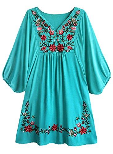 Doballa Damen Boho Tunika Hippie Kleid Gestickt Blumen Mexikanische Bluse, Wahre Teal, XL (Blumen-mädchen-kleider Farbe Teal)