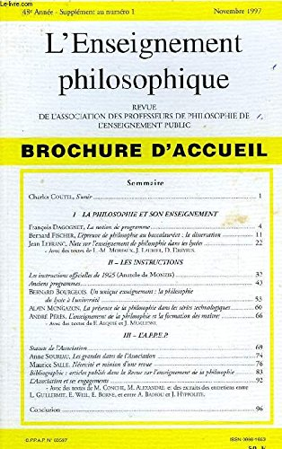 REVUE DE L'ENSEIGNEMENT PHILOSOPHIQUE, 48e ANNEE, N° 1 (SUPPLEMENT), NOV. 1997