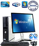 """Windows 7 - Dell OptiPlex Computer Tower with Dell 17"""" LCD TFT Flat Panel Monitor - Powerful Intel Core 2 Duo Processor - 250GB Hard Drive - 4GB RAM - WiFi - Keyboard and Mouse - External Speakers"""