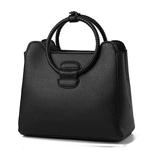 Toopot Sacchetto di spalla di cuoio della borsa di cuoio di Pu Può semplice semplice delle donne VINO ROSSO