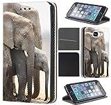 CoverHeld Samsung Galaxy Grand Prime Hülle Premium Flipcover Schutzhülle Flip Case Motiv (1408 Elefant Elefanten Baby Grau Afrika)