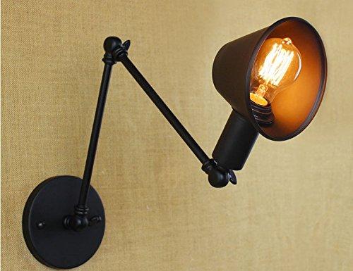 Lampada Vintage Da Parete : Zhzhco 40w in stile loft vintage nero lampada da parete braccio