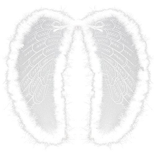 (com-four® Engelsflügel aus Organza und Federn in weiß, Kostüm-Zubehör Flügel zum Umhängen für Karneval, Fasching, Halloween und Motto-Partys (01 Stück))