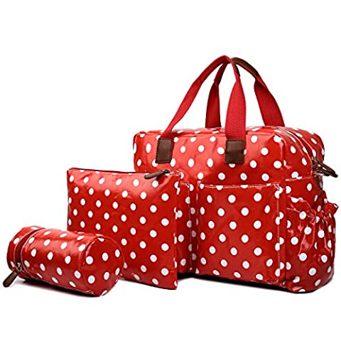 Miss Lulu Floral Printed And Polka Dots Mummy Baby Nappy Diaper Changing Maternity Bag 4pcs Set Wipe Clean Colours Optional (1501D2