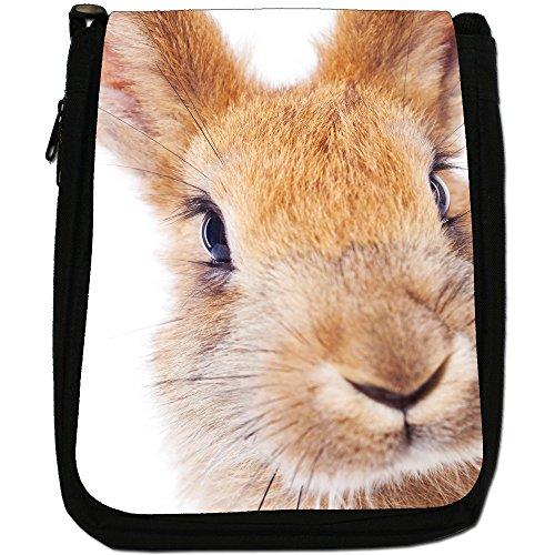 Peluche conigli-Borsa a tracolla in tela, colore: nero, taglia: M Nero (Red Bunny Rabbit)