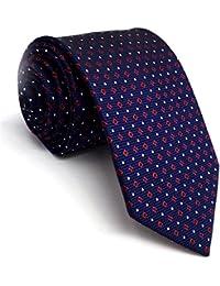 Shlax&Wing único Hombre Corbatas Para Seda Extra largo Azul Rojo Puntos