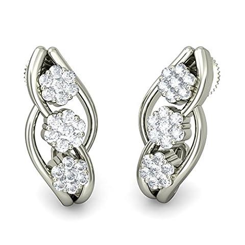 14K Or blanc 0,48CT TW Round-cut-diamond (IJ | SI) Boucles d'oreilles créoles