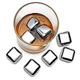 Whisky Steine Ice Cubes 8er Set + Stoffbeutel von VINENCO | 8 Wiederverwendbare Edelstahl Kühlsteine | Whiskey Rocks Eissteine Cooling Stones | Eiswürfel Ersatz für Cocktails, Drinks – Kein Verwässern - 4