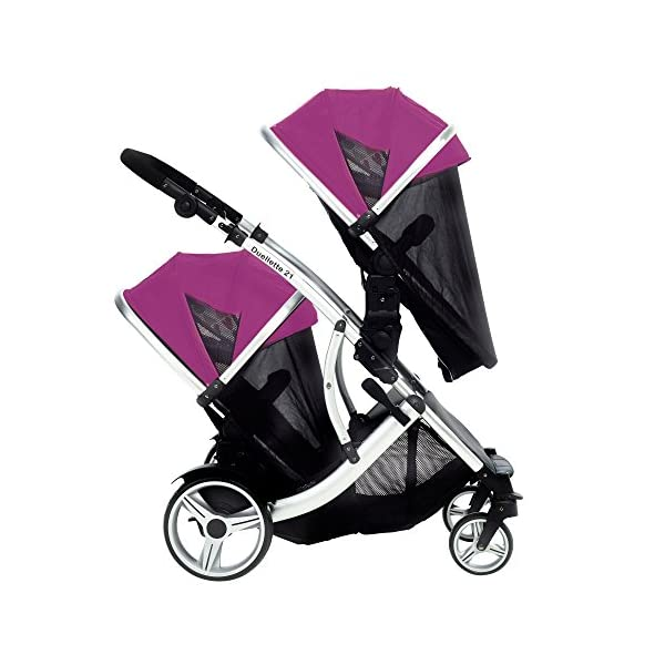 Duellette 21 BS Double Twin Pushchair with 2 footmuffs and Free Changing Bag. Complete with 2 seat units, & 2 rain covers. Dooglebug raspberry. compatible with kids kargo safety pod 0+ car seat Kids Kargo Various seat positions. Both seats can face mum (ideal for twins) Suitability Newborn Twins (if used with car seats) or Newborn/toddler. Accommodates 1 or 2 car seats Rain covers 5