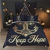 Fansu Bettbezug Bettwäsche Set 3 teilig, Mikrofaser 3D Exotisch Vintage Gold Bedrucktes Bettwäsche-Set Kopfkissenbezug Bettbezug mit Reißverschluss Schließung (135x200cm,Anker)