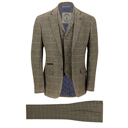 Cavani Mens 3 Piece Tweed Suit Vintage Tan Brown Herringbone Check Retro Slim Fit Jacket, Waistcoat, Trousers