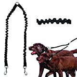 NAttnJf Haustier-Hundewelpen-Leine-doppeltes gehendes Führleine Zugseil-elastischer Sicherheits-Teiler Schwarz