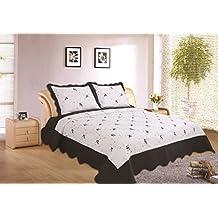 """ADP Home - Colcha Bouti Bordada """"MARTINA"""" cosida y de calidad con funda de almohada – para cama de 90 y 105 Color Gris Talla 180X270 CM"""
