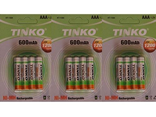 Tinko Wiederaufladbare Ni-MH-Akkus, AAA-Akkus für kabelloses Telefon/Solarlichter, 600 mAh, 1,2 V, 12Stück
