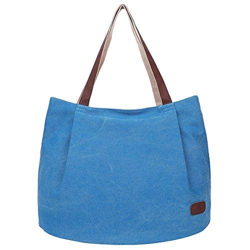 EGOGO Donna Borse a mano Tela Borse a Spalla Tote Sacchetto di Shopping Bag E523-5 (Blu) Blu