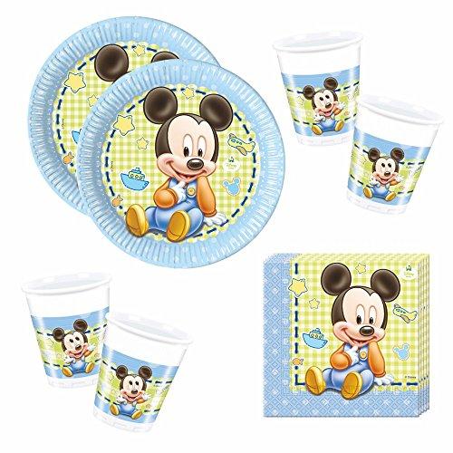 Set Party | Einweg-Geschirr Baby Mouse | Micky Maus | Teller Becher Servietten