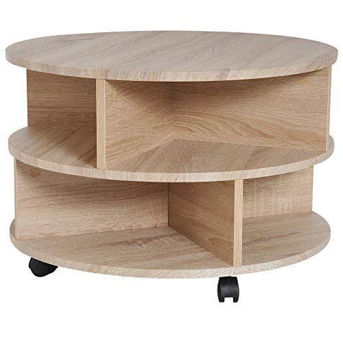 HOMCOM Beistelltisch Satztisch Nachttisch Flexibel Rollbar Modern Platzsparend für Wohnzimmer und Schlafzimmer aus Spanplatte Eiche Φ60 x 39,5 cm - Schlafzimmer Eiche Tisch