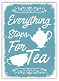 mengliangpu8190 Everything Stops for Tea Blue Metal Wall Sign Plaque Art