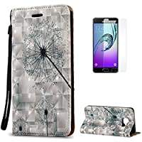 Samsung Galaxy A3 2016/A310F Case [with Free Screen Protector],CaseHome Sparkle 3D Effect Decorative Pattern Premium Synthetic PU Leather Wallet Deisgn with Card Holder Slot and Wrist Strap Book Style Folio Flip Strong Magnetic Closure Smart Stand Feature