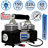 #7: AllExtreme AE-8304Z Heavy Duty Tyre Inflator DC 12V Portable Typhoon Air Compressor 150PSI Direct Drive Metal Pump with Dual-Powered Cylinder for Fast Pumping Tire & Auto Shut-off technology - Plug & Play with LED light and Extension Air Hose For Cars / Bike / SUVs / Trucks / Vans (Black)