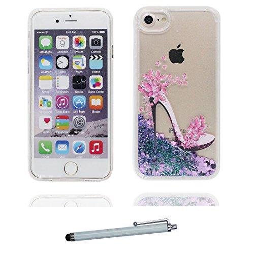 """Coque iPhone 6 Plus, iPhone 6s Plus étui Cover 5.5 pouces, Bling Bling Glitter Fluide Liquide Sparkles Sables, iPhone 6 Plus Case Shell 5.5"""", anti- chocs Bling Heart & stylet talon hauts"""