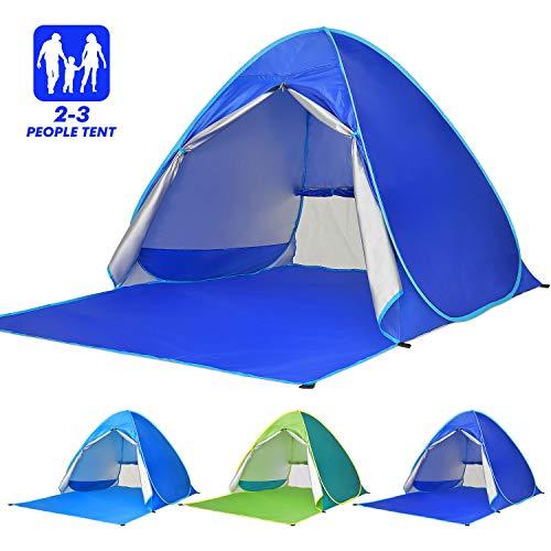 Elover Tienda de Playa Pop Up Tienda de Campaña al Aire Libre Portátil Anti UV Refugio Playa para 2-3 Personas para Playa Camping Jardín Pesca Picnic (Azul Oscuro)