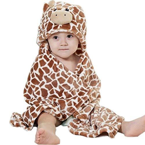 Hilmocho Manta De Bebé Con Capucha Toalla de Baño Infantil de Lana Swaddle Wrap Animal Dibujos Animados...
