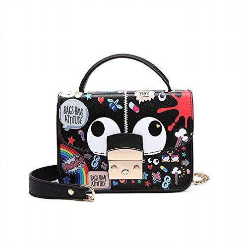 Art und Weise Einfache Graffiti Schulter Messenger Handtasche Cartoon Handtaschen Kleine Quadratische Tasche Schwarz