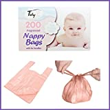 BOX 200 DISPOSABLE BABY PERFUMED FRAGRANCED HYGENIC NAPPY BAGS SACKS TIE HANDLE