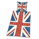 Herding 445944050412 Bettwäsche Union Jack, Kopfkissenbezug: 80 x 80 cm und Bettbezug: 135 x 200 cm, 100% Baumwolle, Renforce