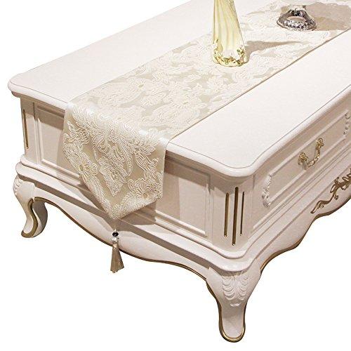 GNOW Tisch-Läufer Einfache Tabelle Flags Im Europäischen Stil Amerikanischer Luxus Wohnzimmer Tischdecke Tee Tabelle Fahnenstoff Tabelle Handtuch Tischdekoration Tuch, Reis Weiß, 32 * 210 Cm.