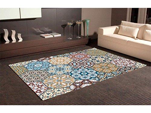 Oedim Alfombra Hexagonos Multicolor PVC | 95 cm x 165 cm | Moqueta PVC | Suelo vinilico | Decoración...