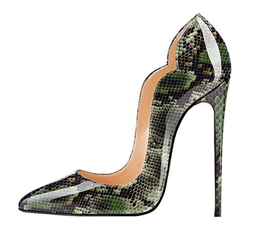 EDEFS Scarpe col Tacco Donna Classico Ritaglio High Heels Chiuse Davanti Scarpa Python-green