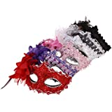 ULTNICE 6pcs Half Face Lace Masks With Flower Decor For Halloween Masquerade Prom Mardi Gras Costume Party