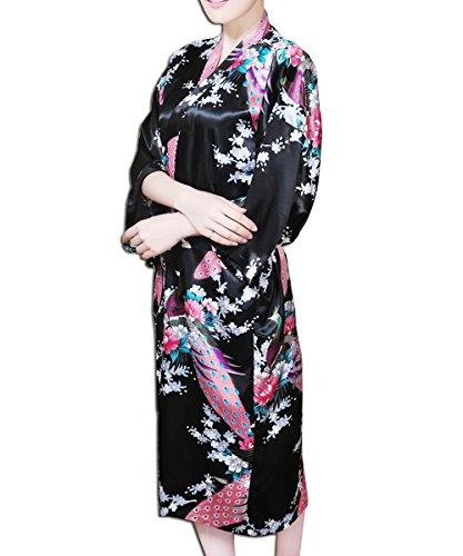 KAXIDY Donna Corto Kimono Accappatoi Kimono da Notte Vestaglie Camicia da Notte Accappatoio Nero