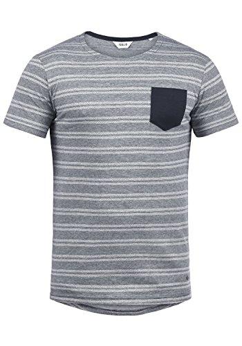 !Solid Fidel Herren T-Shirt Kurzarm Shirt Mit Streifen Und Rundhalsausschnitt 100% Baumwolle, Größe:L, Farbe:Insignia Blue (1991) -